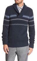 NWT Banana Republic Men's Fair Isle Shawl-collar Sweater Sz M Navy Heather $74