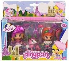 PinyPon Travel Around the World PARIS France, 2 Doll Figures, Poodle Dog pet