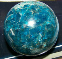 Natural 236g Blue Apatite Quartz Mineral Specimen Reiki Aura Healing Round Ball