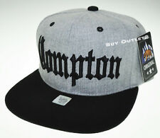 COMPTON Snapback Hat South Central Los Angeles Hip Hop Gray Cap Black NWT