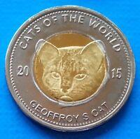 Puntland 25 shillings 2015 UNC Geoffroy's Cat Bi-metallic Bimetal Horse unusual