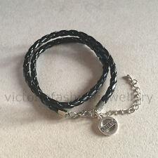 """Leather Bracelet """"DIABETIC"""" Black Rope Wrap Wristband, Diabetes Identity Bangle"""