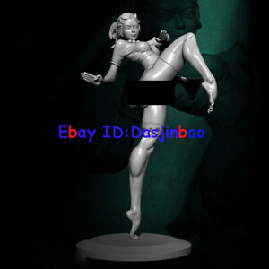 Unpainted 1/24 75MM Beauty Girl Kungfu Resin Figure Model Kit Unassembled GK