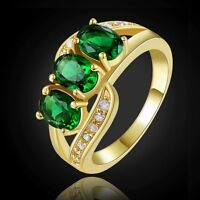 Fashion Gorgeous Size 9 Emerald 18K Gold Filled Engagement Women's Ring Gift