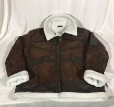 REAL LEATHER Brand Jacket Coat Suede Sherpa Brown Buckle-collar XXL *NWT*