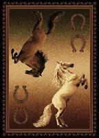 Double Stallion Horse Shoe Rug For The Home NEW Great Buy For The Holidays 5x8