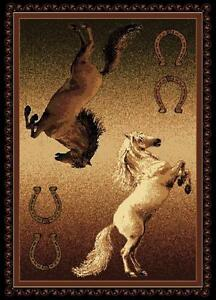 Double Stallion Horse Shoe LARGE AREA RUG NEW Great Buy For The Holidays 8X10