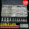 100x Copper Tube Terminals Battery Welding Cable Lug Ring Crimp Connectors UK