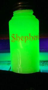 """EAPG Salt & Pepper shaker Souveir of """"Sheperd"""" Verde Ivorina"""