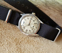 RARE 1940'S WW2 TIMOR MILITARY SILVER SUB SECOND DIAL MANUAL WIND MAN'S WATCH
