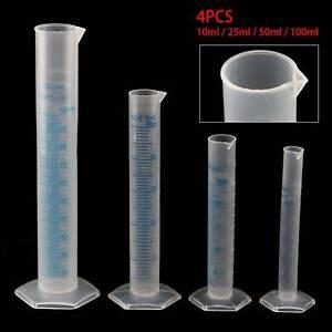4pcs Set Plastic Measuring Cylinder Trial Liquid Tube Laboratory Test UK stock