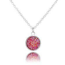 Druzy Drusy Glitter Round Pendant Necklace Silver Chain Fashion Jewelry 1pcs
