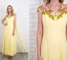 Vintage 70s Yellow Cape Dress Maxi Goddess Sequin Pink Green Leaf Full Small S