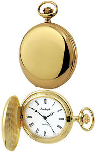 Burleigh Hunter Pocket Watch, Quartz Movement, Gold Plated, Free Engraving 1230