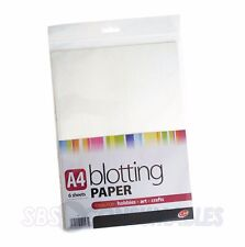 Six Sheets of A4 White Blotting Paper 6 Sheets. Absorbent ink for calligraphy