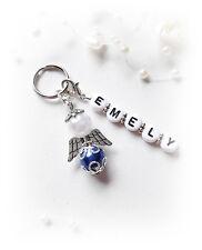 1 Weiss-Blauer Schutzengel- Schlüssel-Anhänger + Wunschname  Geschenk Geburt Neu