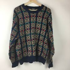 Vintage Christian Dior Monsieur 100% Cotton Knit Pattern Sweater Men's Medium M