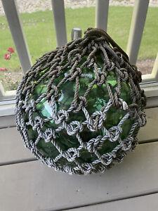 """Vintage Japanese Large Glass Fishing Float With Rope Dark Green40"""" Circumfr"""