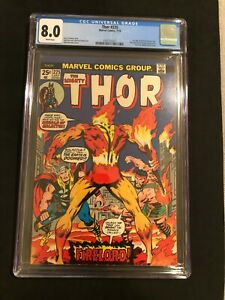 CGC 8.0 Thor #225 KEY 1st App Firelord (Pyreus Kril) Higher Grade NO RESERVE!