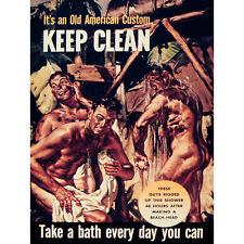 PROPAGANDA WAR WWII USA CLEAN HEALTH BATH SHOWER SOLDIER POSTER PRINT BB7229B
