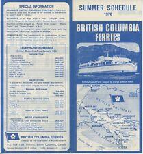 1970 British Columbia Ferry Schedule Travel Brochure Canada Victoria Summer