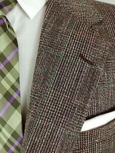 Stafford Tweed Jacket Mens Plaid Green & Purple Windowpane Sport Coat Wool 40L