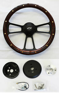 "Blazer C10 C20 C30 Chevy Truck Steering Wheel Mahogany on Black 14"" Bowtie Cap"
