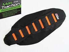 KTM 85 SX85 85SX 13-17 RIBBED GRIPPER SEAT COVER BLACK WITH ORANGE STRIPES RIBS