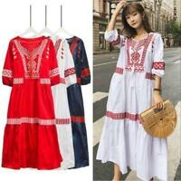 Womens Mexican Ethnic Embroidered Dress Hippie Blouse Gypsy Boho Long Maxi Dress