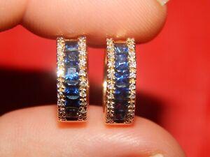 14K YELLOW GOLD EFFY  2.36 TCW DIAMOND & SAPPHIRE HUGGIE HOOP EARRINGS SI-1 G