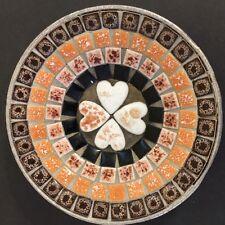 Mosaic Bowl Small Dish Mid Century Modern Hand Made Ashtray Trinkets Orange