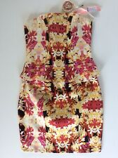 Womens Lipsy Floral Strapless Corset Dress, Size 8, Bnwt