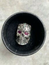 MENS HAND SET STONES MEXICAN EL MUERTO DAY OF THE DEAD SKULL RING SOLID S/SILVER