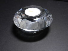 """Chinese Tea Light Candleholder Faceted Round Clear Crystal 3 7/8"""" D"""