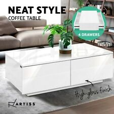 Artiss Modern Coffee Table 4 Storage Drawers High Gloss Living Room Furniture WH