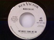 """MARIA DALLAS """"THE MIUSIC TURNS ME ON / TUMBLIN DOWN"""" 45 PROMO"""