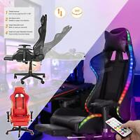 Pro Racing Gaming Chair Comfy Leather Swivel Recliner PC Ergonomic Office Chair