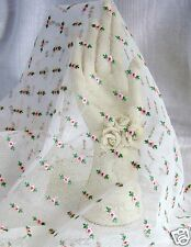 "ROSE BUD Embroidered Swiss Cotton Lace Net Fabric Dolls/ Bears/ Couture 18""X 28"""