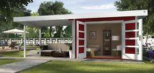 Weka Gartenhaus Design 126 B Gr.3 rot Doppeltür und Anbau (ohne Rückwand)