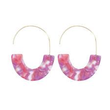 Tortoise Shell Blush Lucite Resin Moon Hoop Earrings for Women Boutique Jewelry