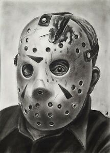 JASON VOORHEES Original Charcoal Drawing on paper, Friday the 13th Final Chapter