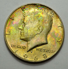 RARE Attractive Wild Natural Toning 1968-D MS UNC KENNEDY HALF DOLLAR 50c,Silver
