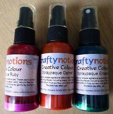 Crafty notions Creative Colour Sprays X 3 spraypaque éMERAUDE, RUBIS & GRENAT