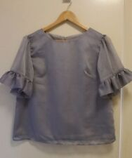 NEW Grey Organza top with ruffle sleeve, size 12-14