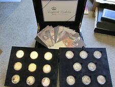 2006 SET 17 x 1oz .925 SILVER & GOLD PROOF £5 / CROWN COINS stunning set coa/box