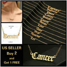 Women Gold Necklace Simple Letters Twelve Constellations Pendant Choker Jewelry