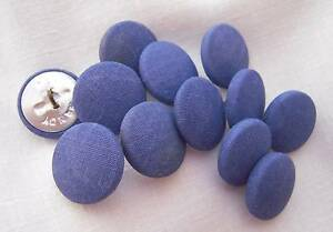 """Set 12 Vintage BLUE Fabric Covered Buttons Brass Shank 3/4"""" 20mm New Old Stock"""