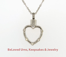 CZs On Open Heart Cremation Jewelry Pendant Keepake Memorial Urn Necklace/Funnel