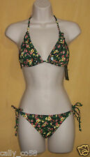 Guess womens green yellow floral womens 2 pc bikini halter top swimsuit S M $117