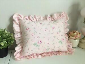 NEW! Ruffled TOSS PILLOW made w/ Rachel Ashwell Antique Garden PiNK Shabby Roses